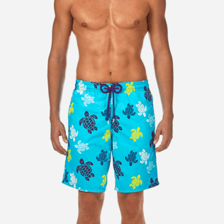 Men Long Printed - Tortues Multicolores Long Cut Swim shorts, Azure supp1