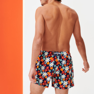Men Stretch classic Printed - Men Stretch Short Swim Trunks 1977 Spring Flowers , Navy backworn