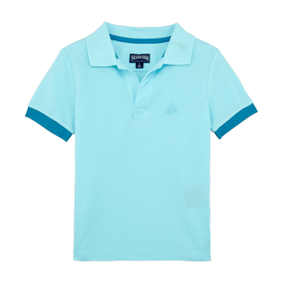 Boys Others Solid - Boys Cotton Pique Polo Shirt Solid, Aquamarine front