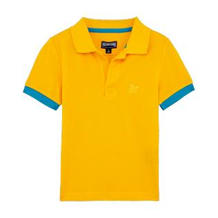 Boys Others Solid - Boys Cotton Pique Polo Shirt Solid, Mango front
