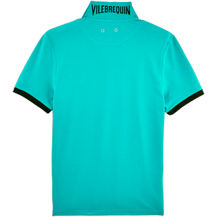 Men Polos Solid - Solid Cotton pique polo, Veronese green back