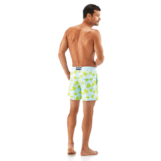 Men Classic / Moorea Printed - Flocked Turtle Print Swim Shorts, Frosted blue backworn