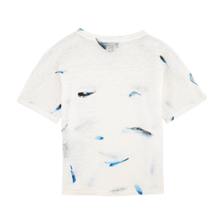 Girls Others Printed - Blue Breath Linen Tee-shirt, White back