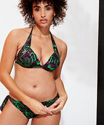 Women Halter Printed - Women Halter Bikini Top Madrague, Grass green frontworn