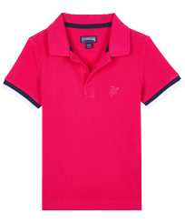 Boys Others Solid - Boys Cotton Pique Polo Shirt Solid, Shocking pink front