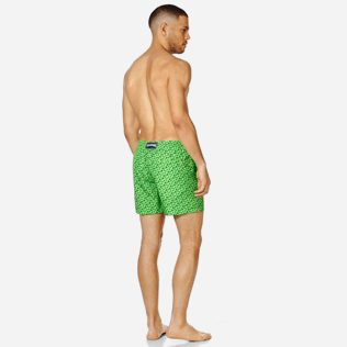 Men Ultra-light classique Printed - Men Swim Trunks Ultra-Light and Packable Micro Ronde des Tortues Fluo, Neon green backworn