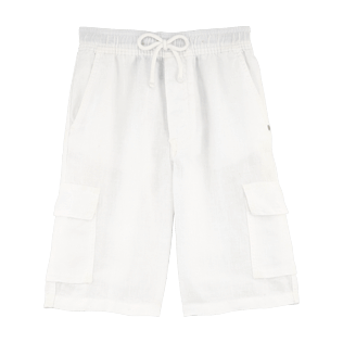 Boys Others Solid - Linen bermuda shorts, White front