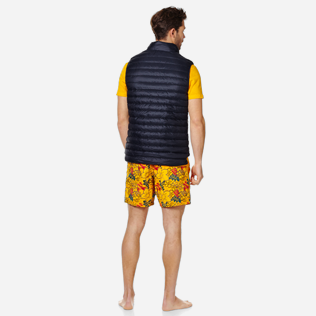 Others Solid - Unisex Sleeveless Down Jacket Solid, Navy backworn