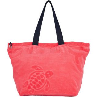 Others Solid - Big terry cloth Beach Bag Jacquard Solid, Hibiscus front