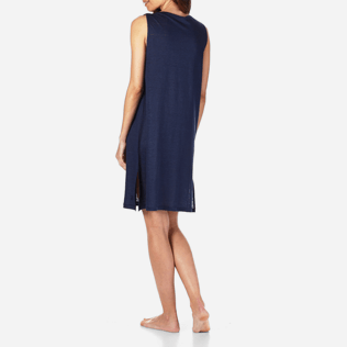 Women Dresses Solid - Women Cowl neck Linen Jersey Dress Solid, Navy backworn