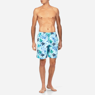 Men Long Printed - Long Cut Swim shorts, Lagoon frontworn