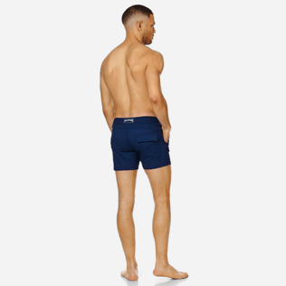 Men Flat belts Solid - Men Swim Trunks Short Flat Belt Stretch Prince de Galles, Midnight blue backworn