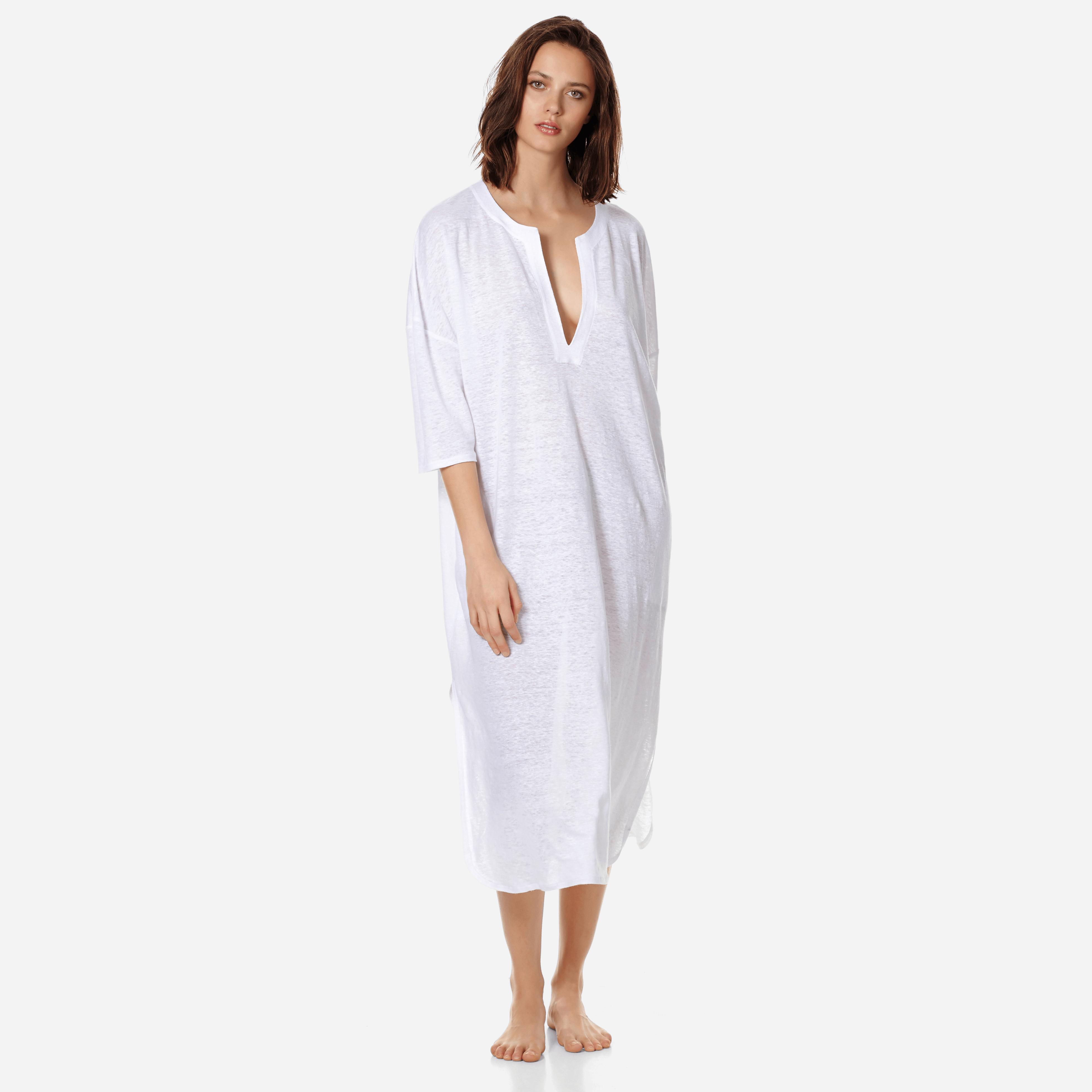 PRET A PORTER FEMME - Robe tunique Longue en jersey de lin Femme unie - COVER-UP - FARLINE - Blanc -