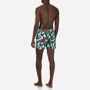 Men Classic Printed - Men Swimtrunks Paradise 3D, Lagoon backworn