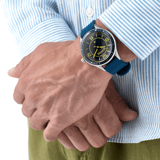 Others Solid - Stripped 43mm Watch, Navy backworn