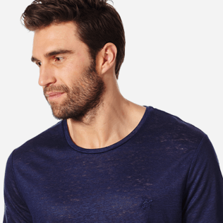 Men Others Solid - Men Linen Jersey T-Shirt Solid, Navy supp1