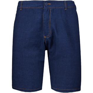 Men Others Solid - Men Linen Cotton Straight Bermuda Shorts Solid, Indigo front