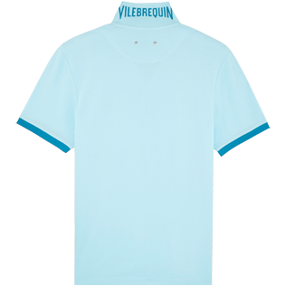 Men Others Solid - Men Cotton Pique Polo Shirt Solid, Aquamarine back
