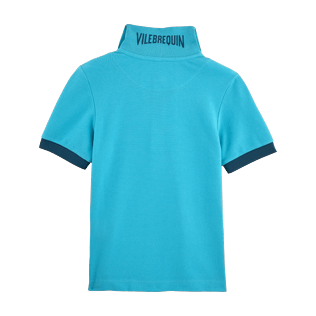 Boys Others Solid - Cotton pique polo, Azure back