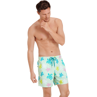 Men Classic Printed - Men Swimwear Ronde des tortues, Seaweed frontworn