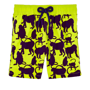 Chicos Corte Clásico Estampado - Bañador con estampado Flocked Happy Monkeys para niño, Chartreuse front