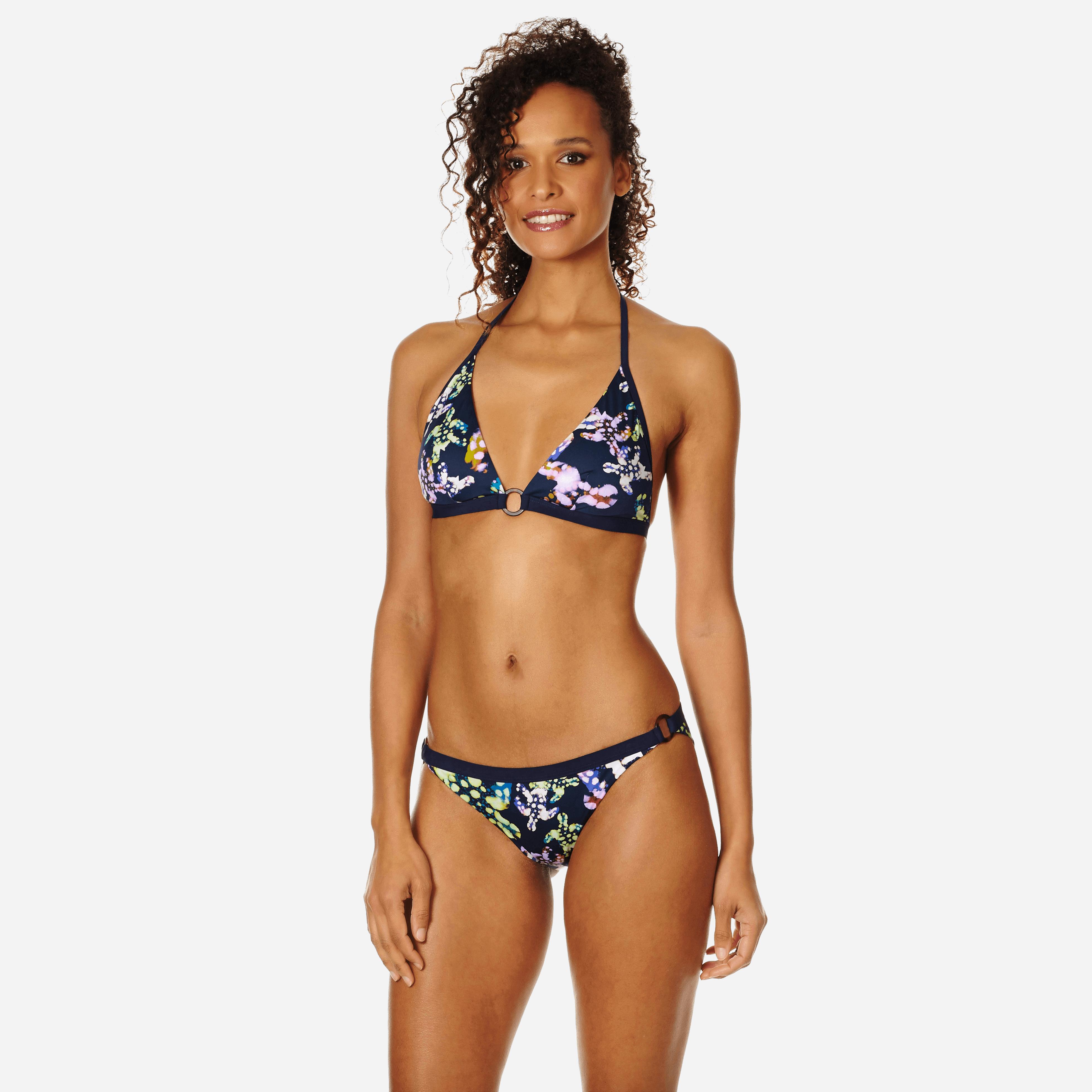 Vilebrequin Women Bikini Bottom Mini Brief Watercolor Turtles In Blue
