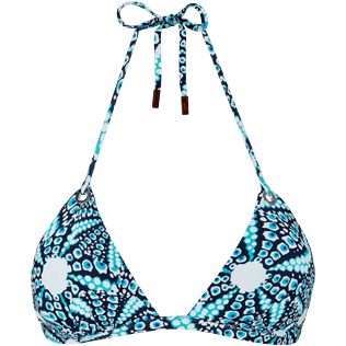 Women Triangle Printed - Women triangle bikini Top Oursinade, Navy front