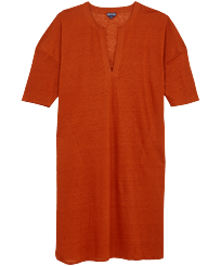 Women Others Solid - Women Linen Dress Solid, Paprika front
