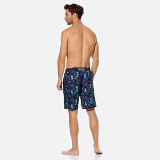Men Long classic Printed - Men Swim Trunks Long Rabbits and Poodles - Florence Broadhurst, Navy backworn