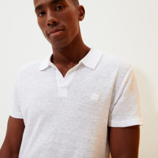 Men Others Solid - Men Linen Jersey Polo Shirt Solid, White frontworn