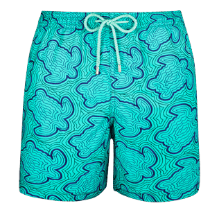 Men Embroidered Embroidered - Men Swimtrunks Embroidered Hypnotic Turtles - Limited Edition, Veronese green front