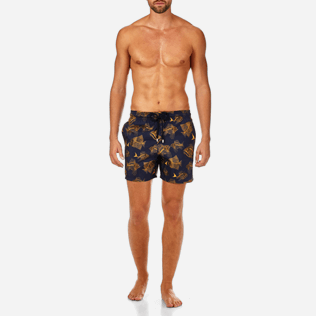 Men Ultra-light classique Printed - Prehistoric Fish Lightweight Packable Swim shorts, Navy frontworn