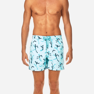 Men Embroidered Embroidered - Danse du Feu All Over Embroidered Swim shorts, Lagoon supp1