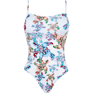 Women One piece Printed - Women One Piece Swimsuit Bustier Watercolor Turtles, White front