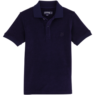 Boys Others Solid - Terry cloth Polo, Navy front