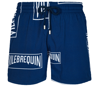 Men Stretch classic Printed - Men Stretch Swim Trunks Vilebrequin labels, Navy front
