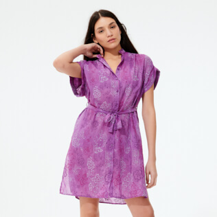 Women Others Embroidered - Women Silk Cotton Shirt Dress Embroidery, Orchid frontworn