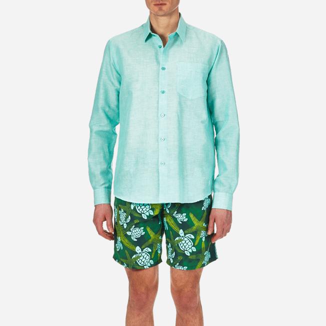 Vilebrequin - Camisa en lino de algodón liso para hombre - 5