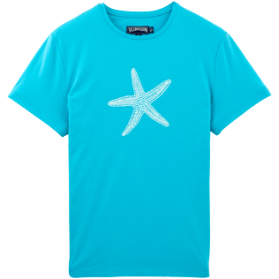 Men Tee-Shirts Printed - Glow in the dark Starlettes Round neck T-Shirt in Jersey cotton, Azure back