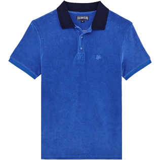 Men Others Solid - Men Terry Cloth Polo Shirt Solid Contrasted, Sea blue front