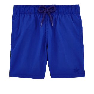 Boys Classic / Moorea Printed - Boys Water-Reactive Swimwear Starfish Art, Neptune blue front
