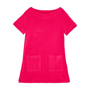 Girls Others Solid - Girls Terry Cloth Dress Solid, Shocking pink front
