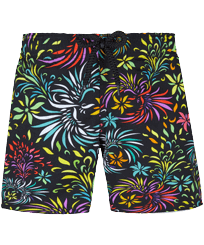 Boys Others Printed - Boys Swim Trunks Stretch Evening Birds, Black front