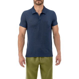 Men Others Solid - Solid Linen jersey polo, Navy supp2