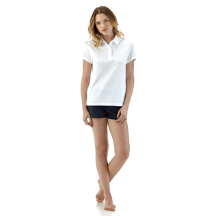 Women Polos Solid - Solid Cotton pique polo, White supp1