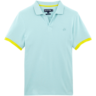 Men Polos Solid - Fitted Solid Cotton pique polo, Frosted blue front