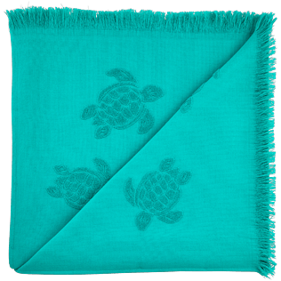 Towels Solid - Fouta with fringes Turtles pattern, Veronese green back
