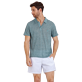 Men Others Solid - Men Linen Jersey Polo Shirt Solid, Heather green blue frontworn