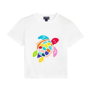 Others Printed - Kids Cotton T-Shirt Uni Tortue Multicolore, White front