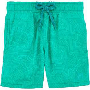 Boys Others Printed - Boys Water-Reactive Swimwear Hypnotic Turtles, Veronese green frontworn